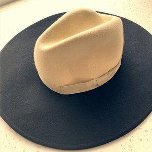 Brixton Full Brim Black & Cream Wool Hat